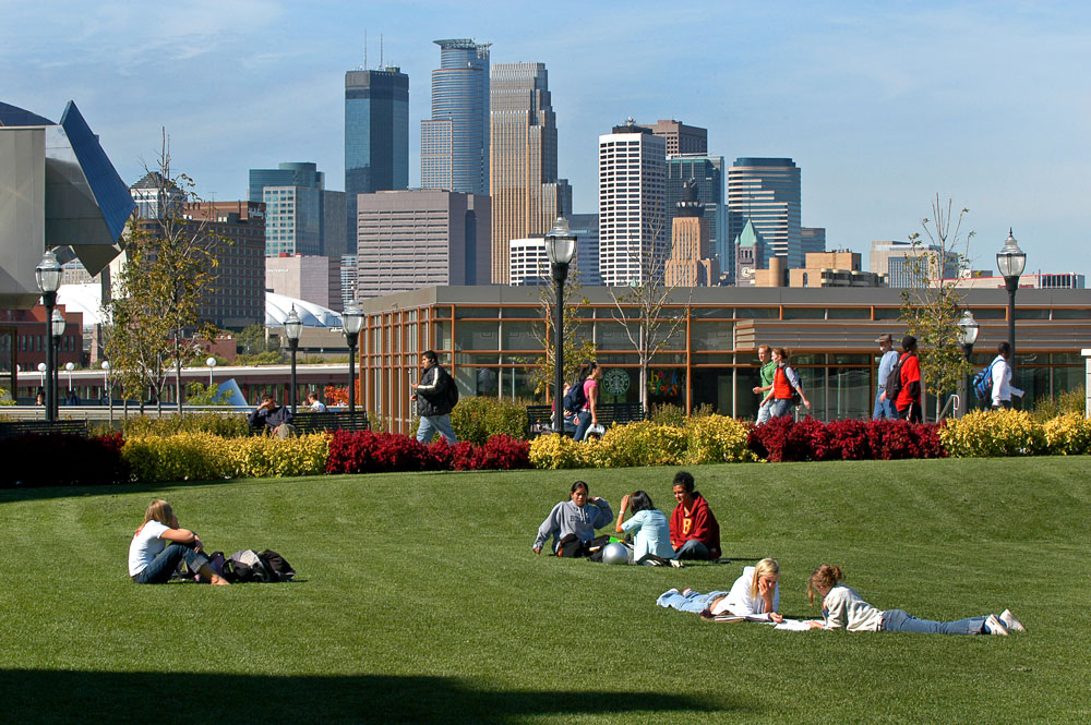 Serene Photo of Campus with students lounging